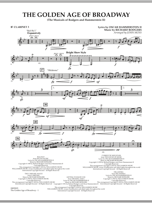 The Golden Age Of Broadway - Bb Clarinet 3 (Concert Band)