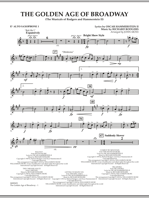 The Golden Age Of Broadway - Eb Alto Saxophone 1 (Concert Band)