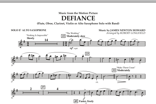 Music from Defiance - Solo Eb Alto Saxophone (Concert Band)