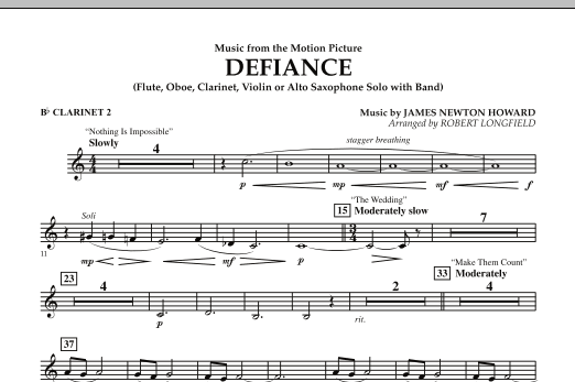 Music from Defiance - Bb Clarinet 2 (Concert Band)