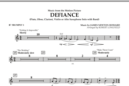 Music from Defiance - Bb Trumpet 1 (Concert Band)