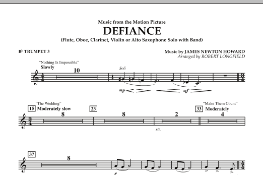 Music from Defiance - Bb Trumpet 3 (Concert Band)