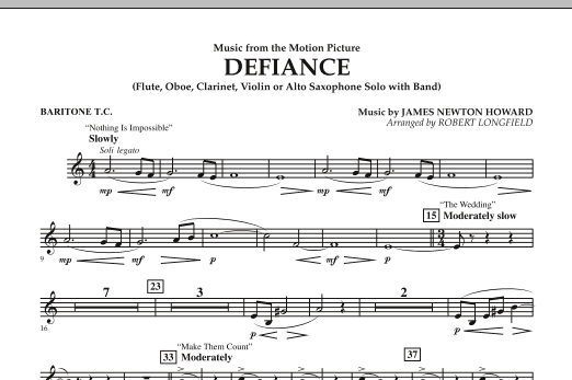 Music from Defiance - Baritone T.C. (Concert Band)