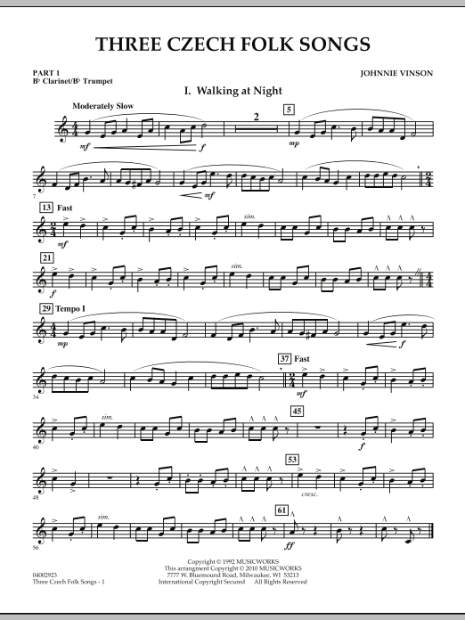 Three Czech Folk Songs - Pt.1 - Bb Clarinet/Bb Trumpet (Concert Band)