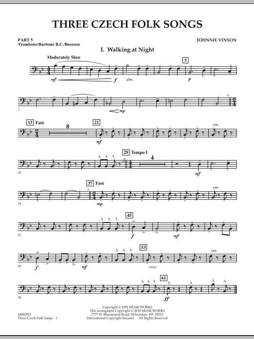 Three Czech Folk Songs - Pt.5 - Trombone/Bar. B.C./Bsn. (Concert Band)