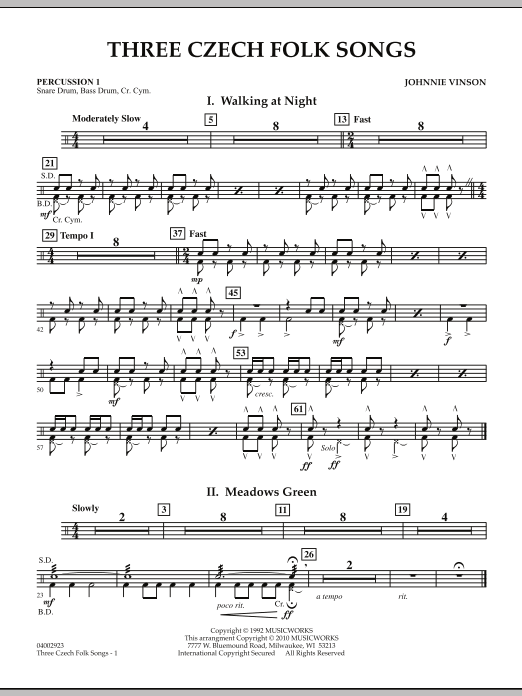Three Czech Folk Songs - Percussion 1 (Concert Band)