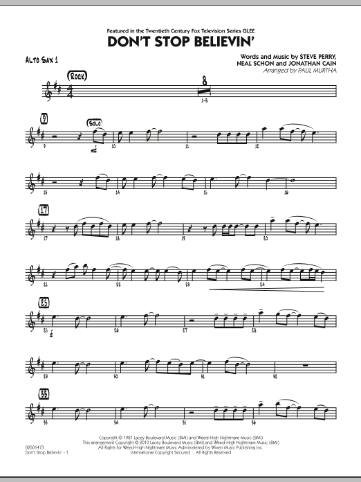 Don't Stop Believin' - Alto Sax 1 (Jazz Ensemble)