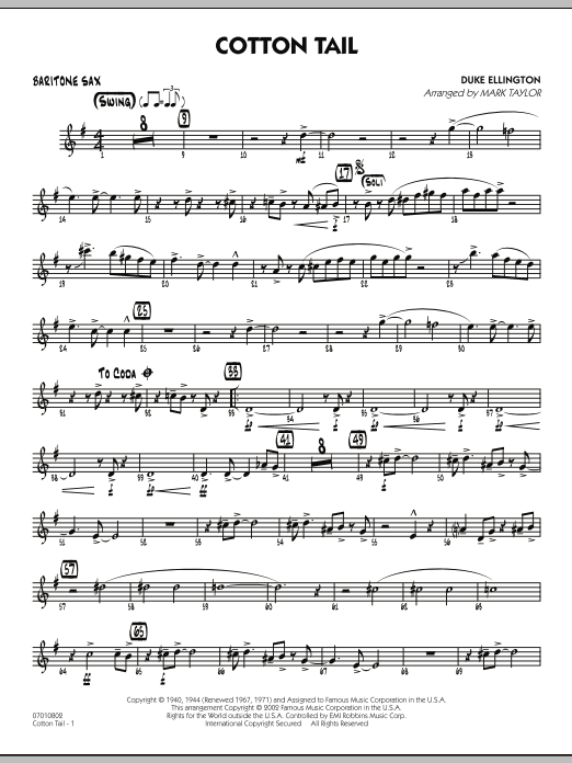 Cotton Tail - Baritone Sax (Jazz Ensemble)