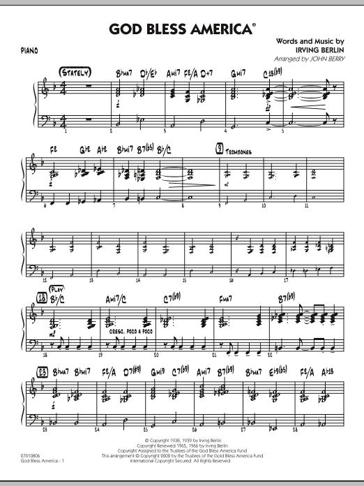God Bless America - Piano (Jazz Ensemble)