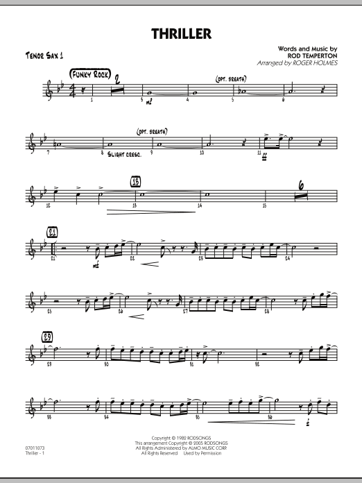 Thriller - Tenor Sax 1 (Jazz Ensemble)