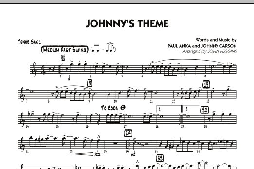 Johnny's Theme (from The Tonight Show) - Tenor Sax 1 (Jazz Ensemble)