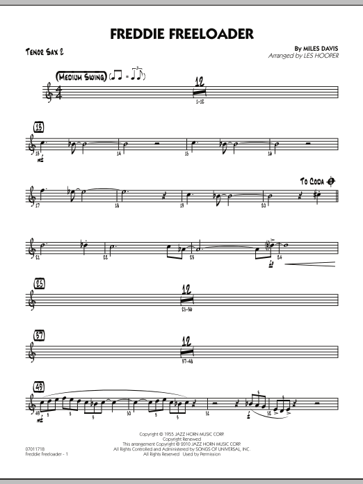 Freddie Freeloader - Tenor Sax 2 (Jazz Ensemble)