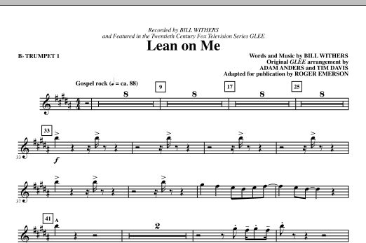 Lean On Me (complete set of parts) sheet music for orchestra/band (chamber ensemble) by Roger Emerson, Adam Anders, Bill Withers, Glee Cast and Miscellaneous. Score Image Preview.