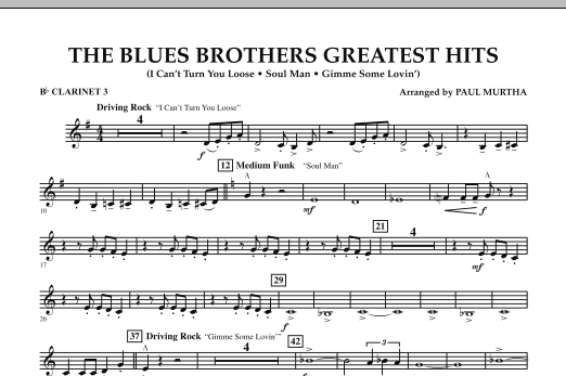 The Blues Brothers Greatest Hits - Bb Clarinet 3 (Concert Band)