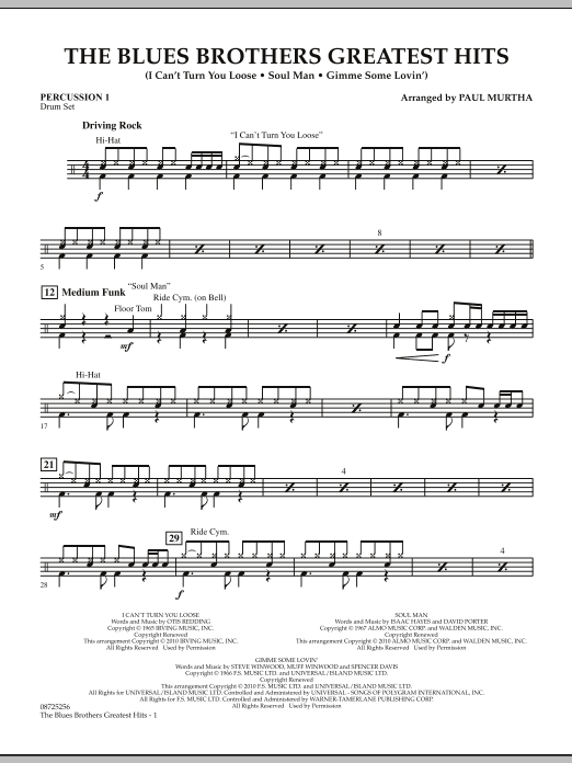 The Blues Brothers Greatest Hits - Percussion 1 (Concert Band)