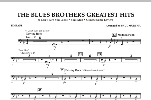 The Blues Brothers Greatest Hits - Timpani (Concert Band)
