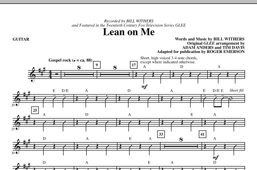 Lean On Me Guitar Sheet Music Roger Emerson Choral