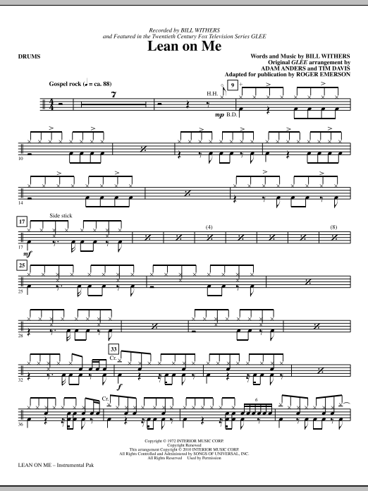 Lean On Me Drums Sheet Music Roger Emerson Choral Instrumental Pak