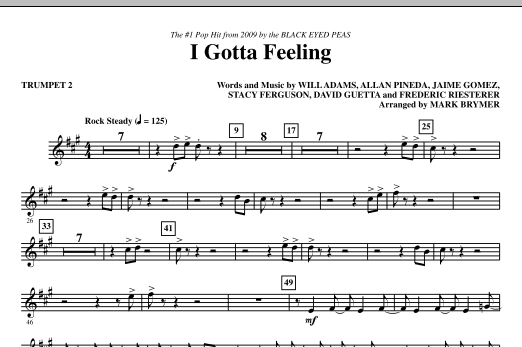 I Gotta Feeling (arr. Mark Brymer) - Trumpet 2 (Choir Instrumental Pak)