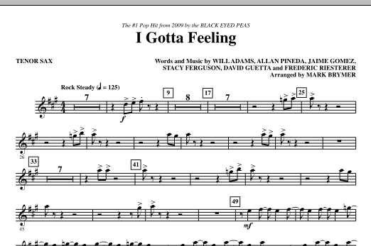 I Gotta Feeling - Tenor Sax Sheet Music