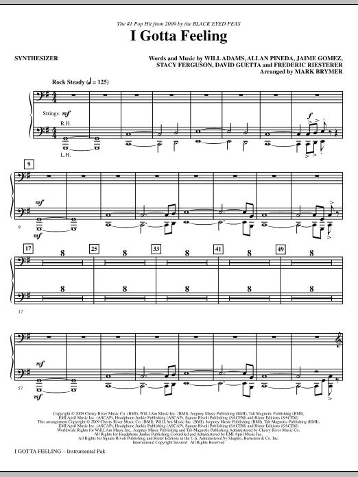 I Gotta Feeling (arr. Mark Brymer) - Synthesizer (Choir Instrumental Pak)