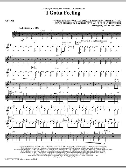 I Gotta Feeling (arr. Mark Brymer) - Guitar (Choir Instrumental Pak)