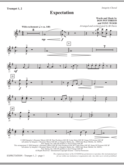 Expectation - Bb Trumpet 1,2 Sheet Music