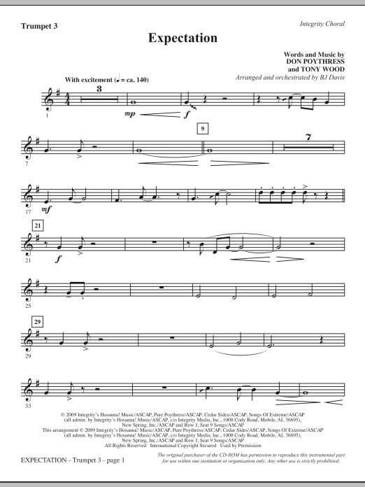 Expectation - Bb Trumpet 3 Sheet Music