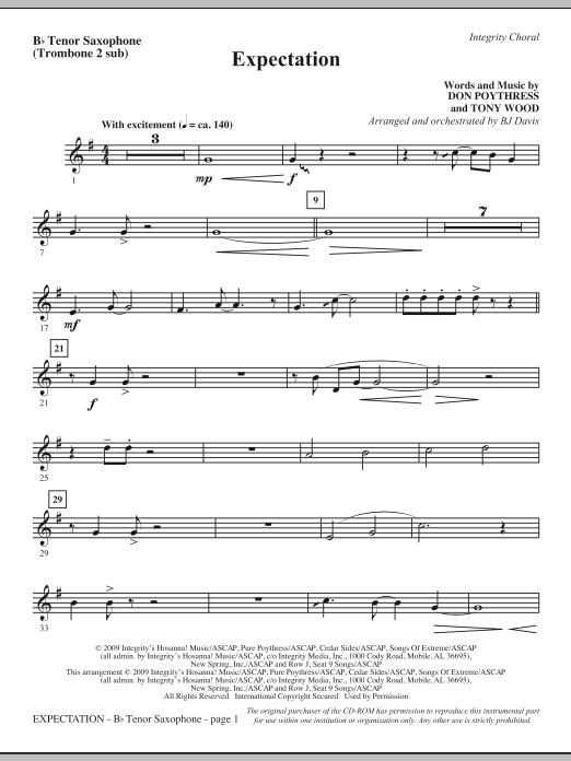 Expectation - Tenor Sax (Trombone 2 sub) Sheet Music