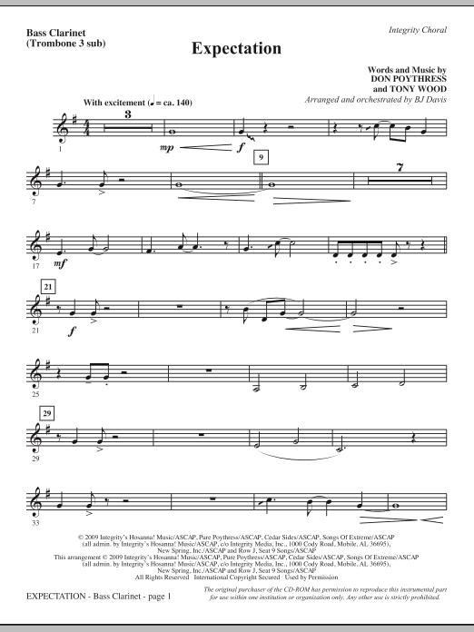 Expectation - Bass Clarinet (sub. Tbn 3) Sheet Music