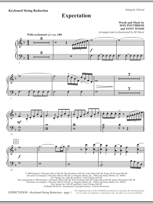 Expectation - Keyboard String Reduction Sheet Music