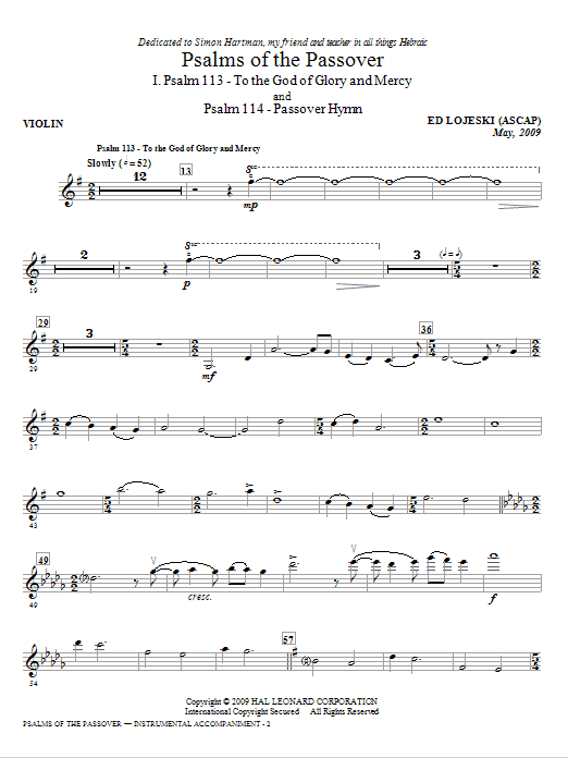 Psalms Of The Passover (complete set of parts) sheet music for orchestra/band (Piano Quartet) by Ed Lojeski. Score Image Preview.