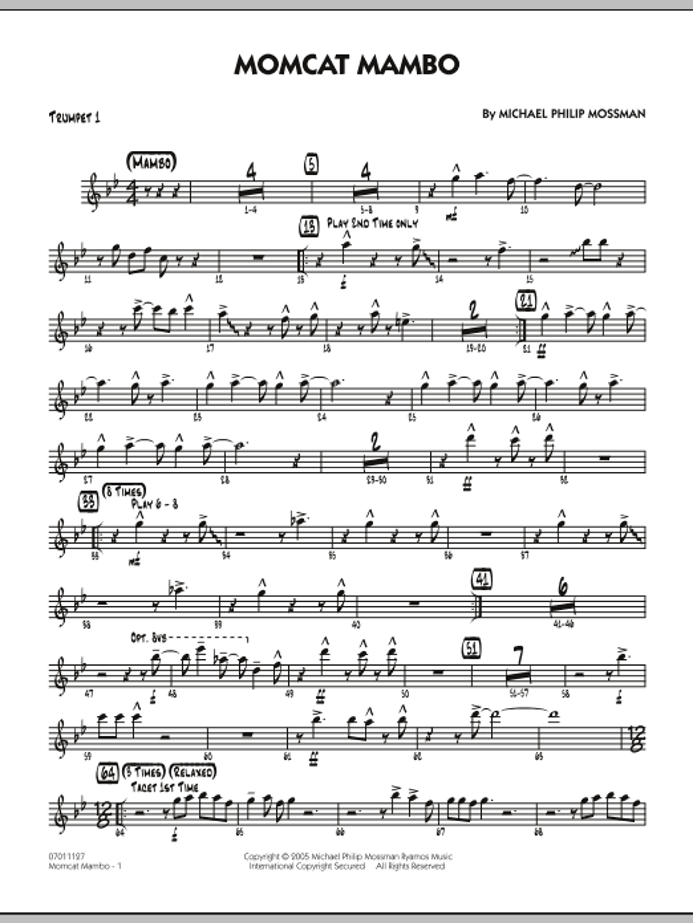 Momcat Mambo - Trumpet 1 (Jazz Ensemble)