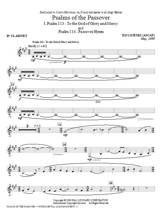 Psalms Of The Passover - Bb Clarinet (Choir Instrumental Pak)
