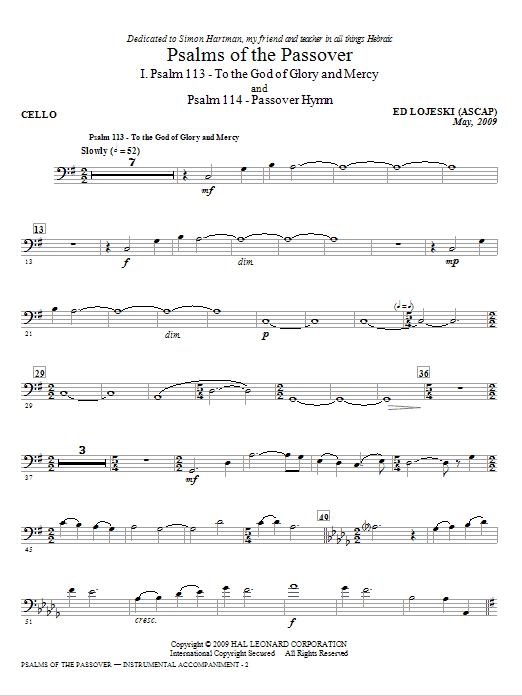 Psalms Of The Passover - Cello (Choir Instrumental Pak)