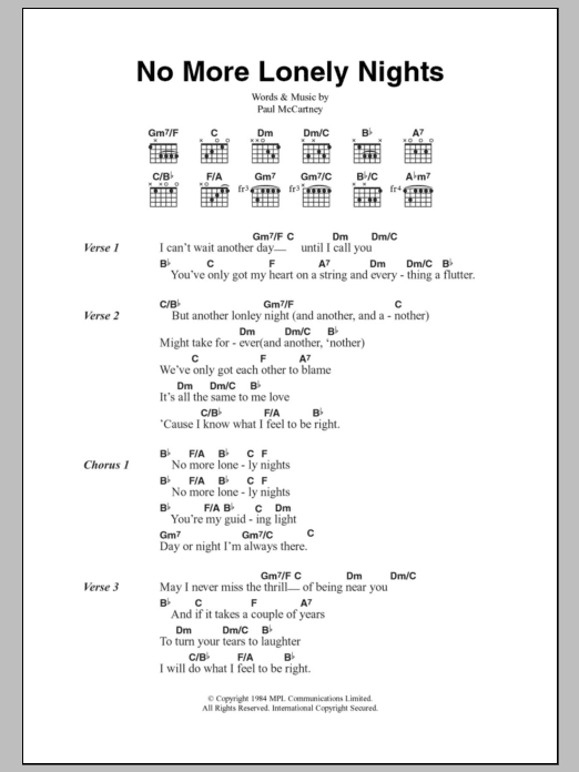 No More Lonely Nights by Paul McCartney Piano, Vocal & Guitar (Right-Hand  Melody) Digital Sheet Music