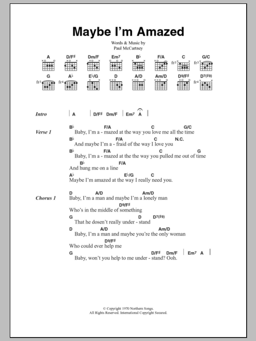 Maybe I\'m Amazed | Sheet Music Direct
