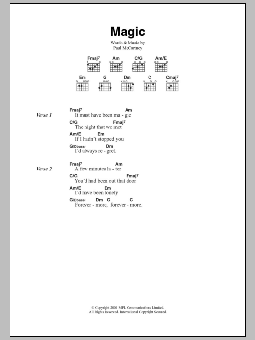 Magic | Paul McCartney | Lyrics & Chords