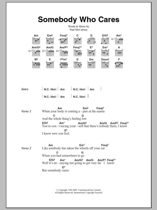 Somebody Who Cares Sheet Music Paul Mccartney Lyrics Chords
