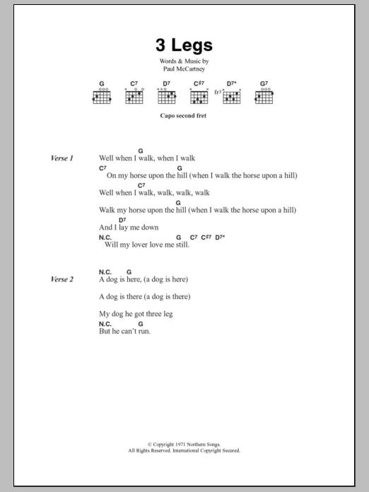 3 Legs Sheet Music Paul Mccartney Lyrics Chords