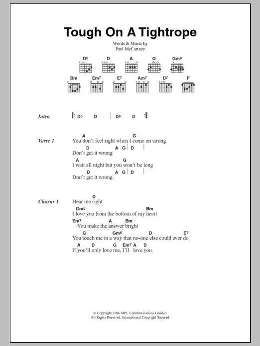 Tough On A Tightrope Sheet Music Paul Mccartney Lyrics Chords