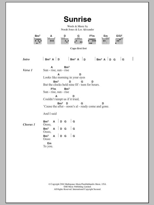 Sunrise Sheet Music