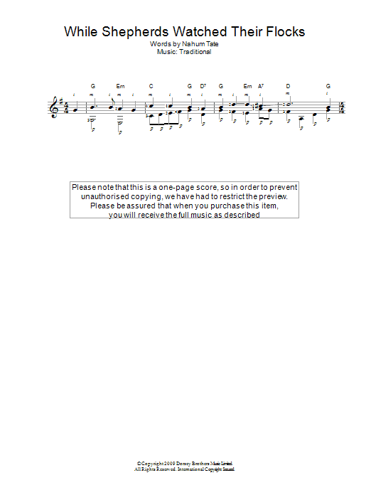 While Shepherds Watched Their Flocks Sheet Music