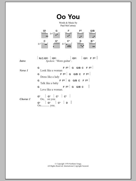 Oo You Sheet Music