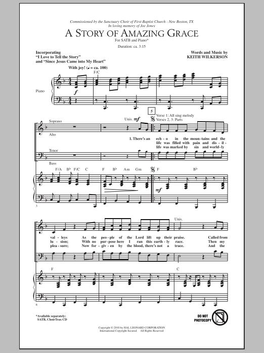 A Story Of Amazing Grace Sheet Music