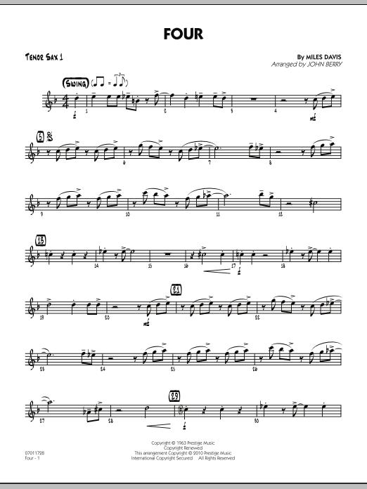 Four - Tenor Sax 1 (Jazz Ensemble)