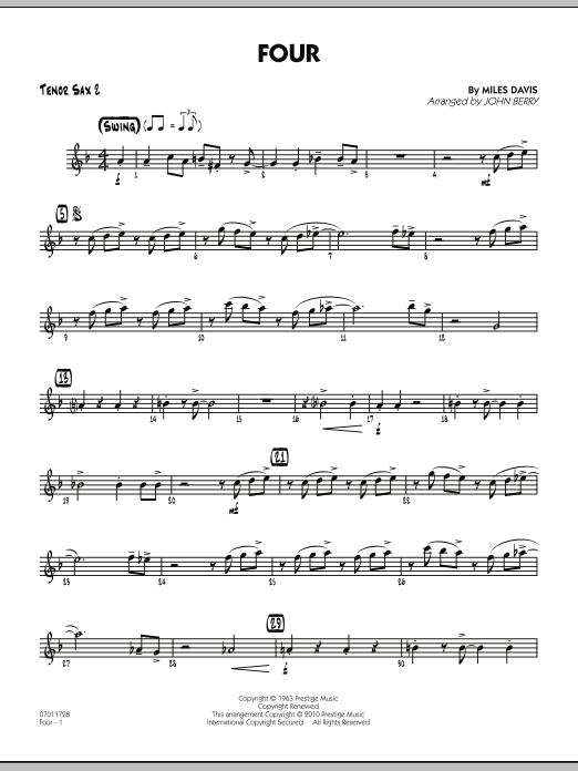 Four - Tenor Sax 2 (Jazz Ensemble)