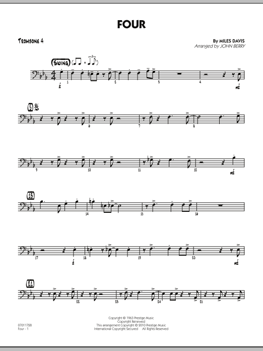 Four - Trombone 4 (Jazz Ensemble)