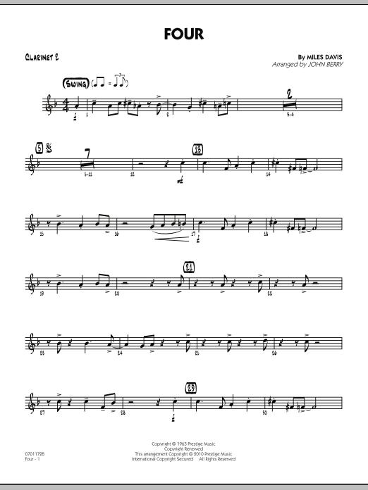 Four - Bb Clarinet 2 (Jazz Ensemble)