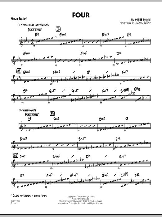 Four - Solo Sheet (Jazz Ensemble)